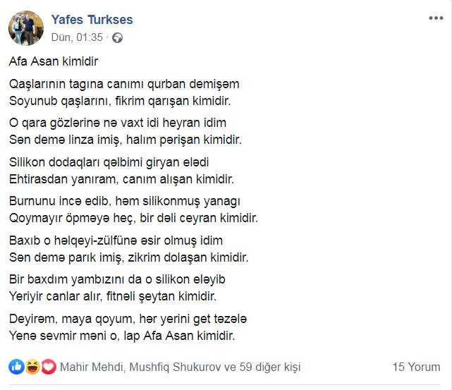 """Afaq Aslan ona erotik qəzəl yazan şairə əsəbiləşdi: """"Mənə maraqlı deyil!"""""""